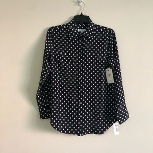 Equipment black dot silk classic signature blouse